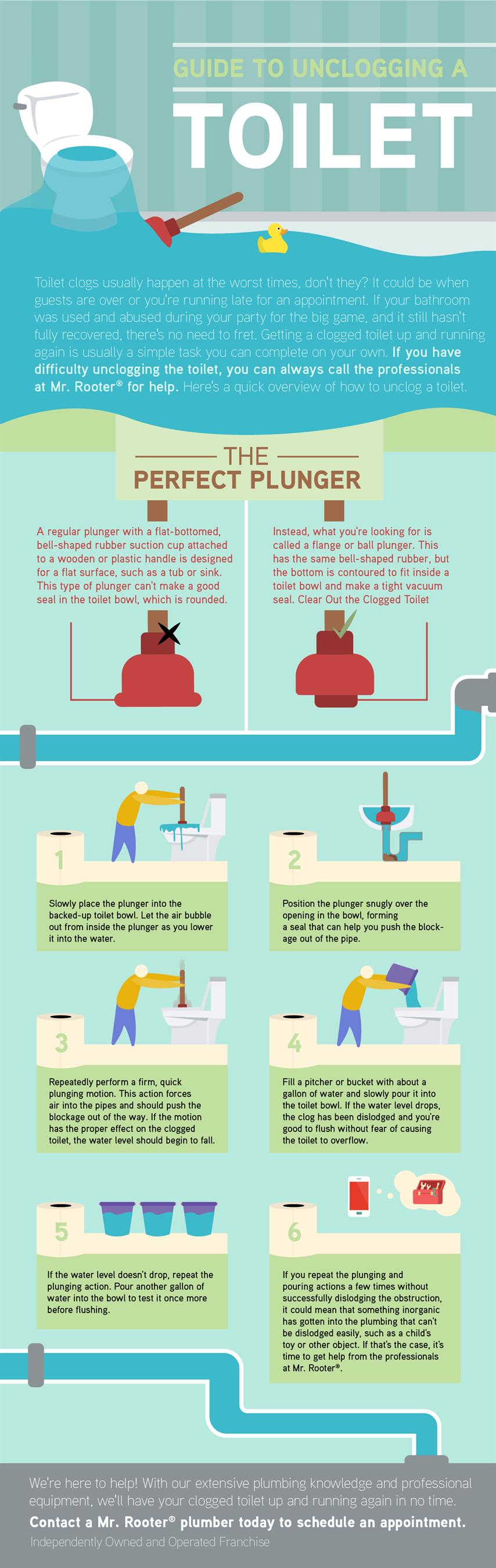Guide to unclogging a toilet infographic