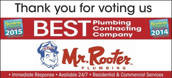 thank you badge from Mr. Rooter for voting best plumbing company 2014 and 2015