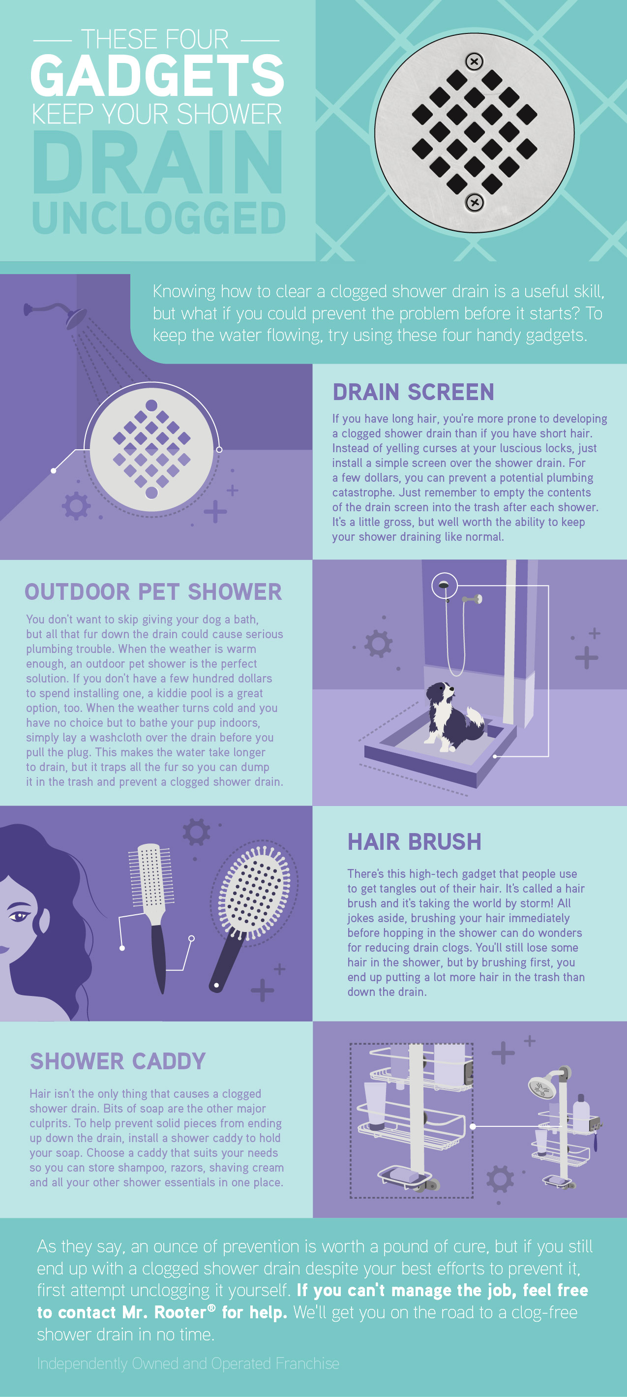 Four gadgets to keep your shower drain unclogged infographic